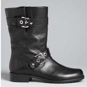 Stuart Weitzman Lotroop Leather Moto Boots 7.5